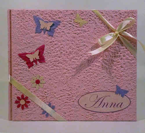 Photo album with pink butterflies and name