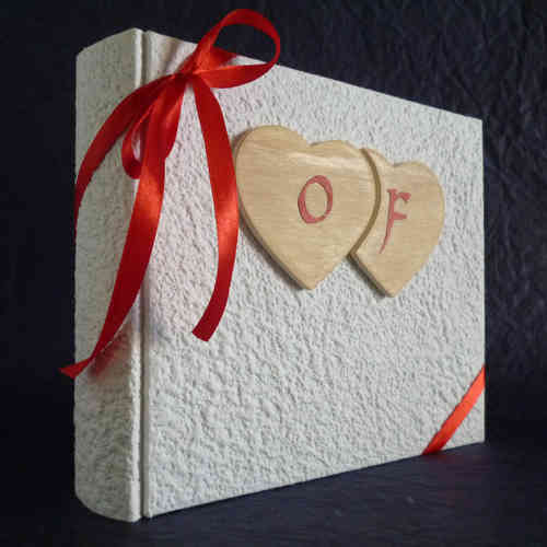 Photo album white wooden hearts,initial