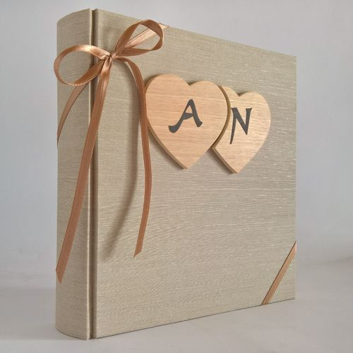 Photo album canvas wooden hearts and initials