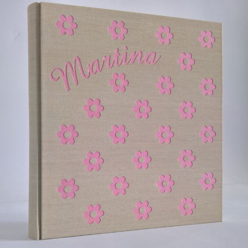 photo album in pink flower polka dots with name