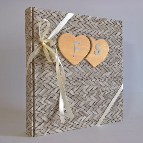 Photo album RATTAN wooden hearts,initial